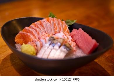 Sashimi, raw fish in traditional Japanese