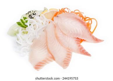 Sashimi with salmon on white background