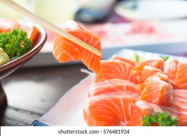 Sashimi salmon set, raw fish, japanese food.(Selective focus)
