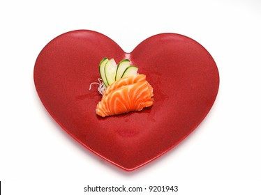 Sashimi Salmon Sushi in Heart for Valentines