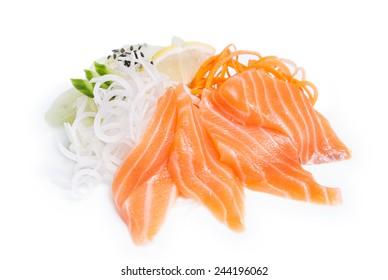 Sashimi salmon syake on white background