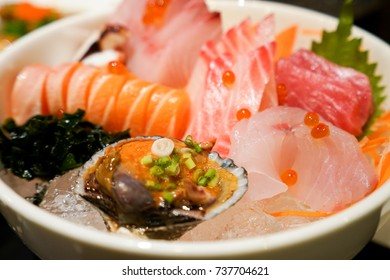 Sashimi, salmon, tuna on dish, Japanese food