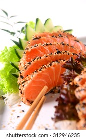 Sashimi in sesame-crested Salmon