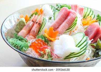 Sashimi set, Japanese food on white background
