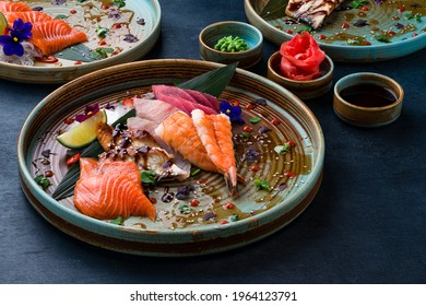 Sashimi set, Japanese food sashimi a traditional dish of raw fish served on the table with copy space. raw sliced fish