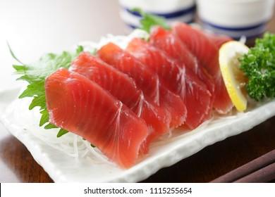 Sashimi skipjack tuna.  Japanese food.