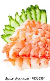 Sashimi Sushi with tiger prawns and cucumber close-up. Isolated on white