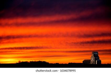 Saskatchewan Prairie Sunset rrural countryside colorful sky