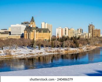 Saskatchewan River valley and Saskatoon skyline on a cold winter day.