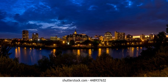 SASKATOON, CANADA - JULY 2: Saskatoon skyline along the Saskatchewan River on July 2, 2016 in Saskatoon, Saskatchewan, Canada. Saskatoon is the largest city in Saskatchewan.