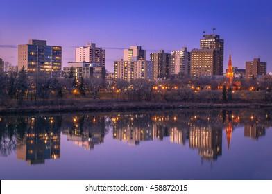 Saskatoon downtown skyline at night.