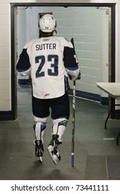 SASKATOON - MARCH 17: Lukas Sutter of the Saskatoon Blades heading to the locker room. March 17, 2011 in Saskatoon, Canada.