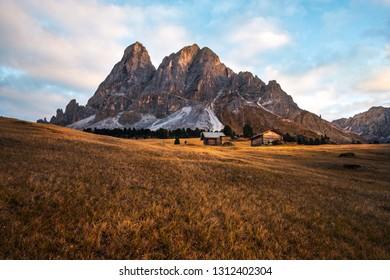 Sass de Putia beautiful mountain range in the dolomites at sunset, Bolzano province, south Tyrol in Italy . Peitlerkofel mountain