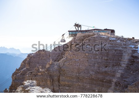 Sass Pordoi Plateaushaped Massif Dolostone Mountain Stock Photo