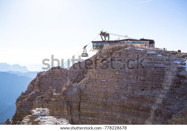 Sass Pordoi Plateaushaped Massif Dolostone Mountain Stock
