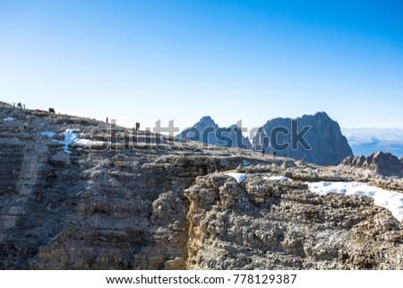 Sass Pordoi Plateaushaped Massif Mountain Sella Stock Photo Edit