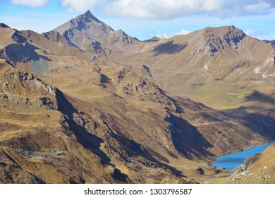 Sasseneire (left) and Diablons in the Val d'Anniviers above Grimentz in the Southern Swiss Alps
