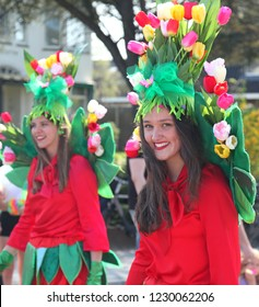 Sassenheim, Netherlands - April 21st 2018 : Bloemencorso Bulb Flower parade.