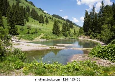 Sassey pond between Tovassiere and Morgins (canton Valais, Switzerland)
