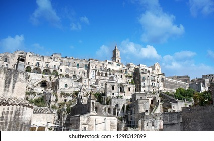The Sassi of Matera are the historic part of ancient town in southern Italy - Matera, amazing and unique city in the world with architecture in rocks and caves