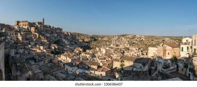 Sassi of Matera. Sasso Barisano at sunset. Magic of cave houses. UNESCO World Heritage Site.