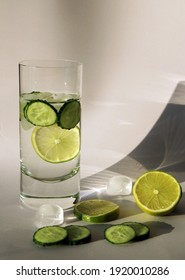 Sassi water. Water in a transparent glass with lemon, lime, cucumber. High quality photo