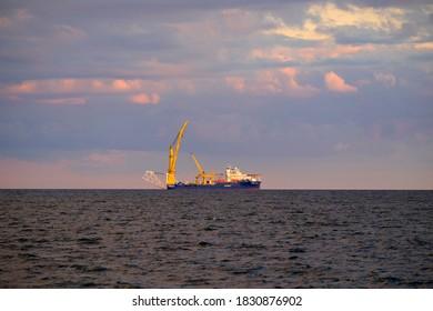 SASSNITZ, GERMANY - OKTOBER 4, 2020: Nord Stream 2 pipelayer Akademik Tscherski at sea close to the port of Sassnitz.