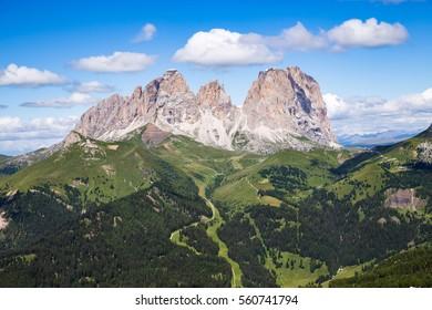 The Sassolungo (Langkofel) Group of the Italian Dolomites in summer