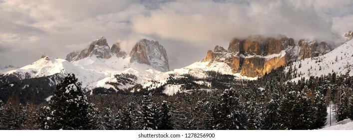 The Sassolungo and Sella group in the Italian Dolomites. Trentino Alto-Adige in Italy.