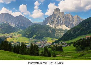 Sassongher peak and Corvara in Badia village in Dolomites Alps , Trentino Alto Adige South Tyrol, Italy, Europe