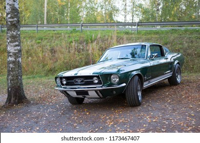 SASTAMALA, FINLAND - September 6: Classic Ford Mustang parked outdoors. Image taken in Sastamala, Finland on September 6, 2018.