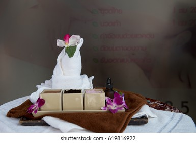 Sat alterative natural body care/ SPA concept: lavender sea salt and aroma oils with towel