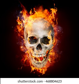 Satanic Skull In Flames In The Darkness
