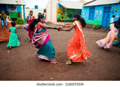 Satara / India 16 August 2018 Indian marathi community women playing game fugdi  in a rural  village during the annual Hindu Nag Panchami festival at Satara Distric in Maharashtra India