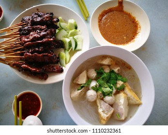 Satay and Fishball Soup