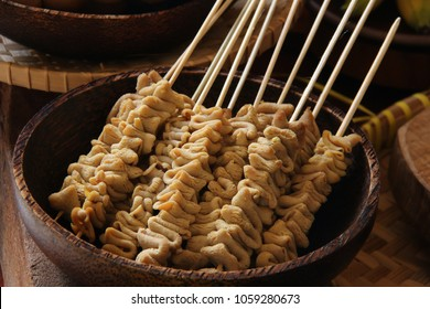 Sate Usus. Braised chicken intestines on skewers; a common side dish to accompany Soto Batok and other Javanese meals.