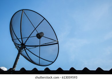 satelite dish of cable tv for home use on the roof