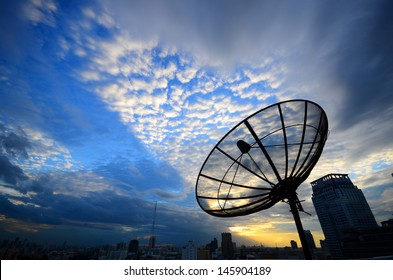 Satelite dish on blue sky