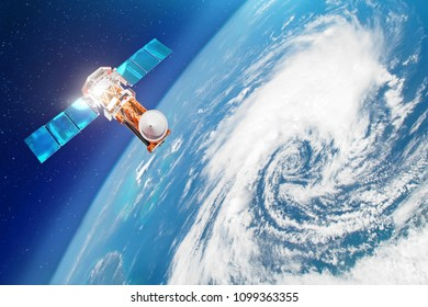Satellite above the Earth makes measurements of the weather parameters. Research, probing, monitoring of tracking in a tropical storm zone, a hurricane. Elements of this image furnished by NASA