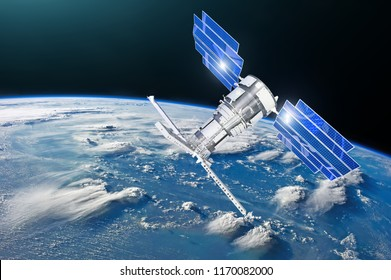 Satellite above the Earth makes measurements of the weather parameters. Sensing, research, probing, monitoring of in atmosphere Elements of this image furnished by NASA