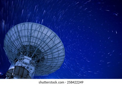 Satellite Antenna with beautiful startrail in blue sky,north china
