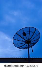 satellite antenna in blue sky