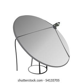 Satellite antenna is isolated on white background. Raster