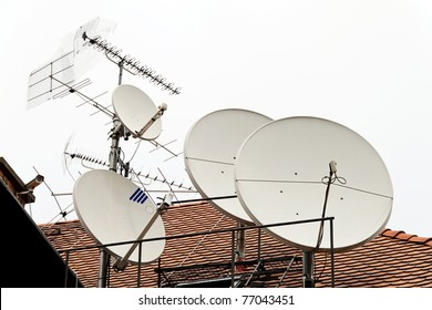 A satellite antenna to receive different TV