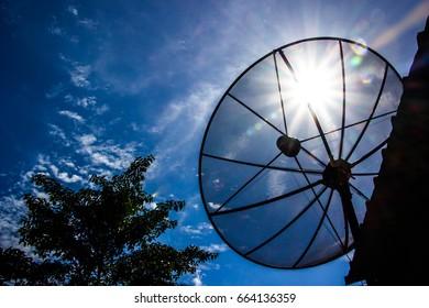 satellite blue sky sunny