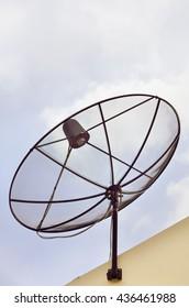 Satellite disc against blue sky in the morning