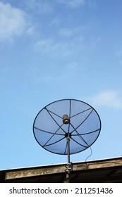 satellite dish against blue sky.
