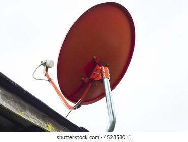 Satellite dish antenna isolated on white background.
