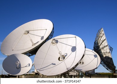Satellite dish antennas with blue sky.Satellite dish antennas