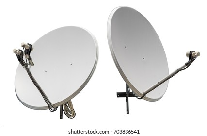 satellite dish antennas isolated on white background